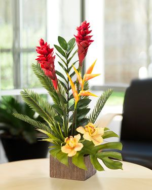 Torch Ginger and Orchid<br>Faux Arrangement