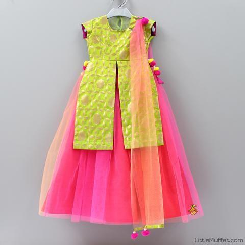 Pre Order: Green And Pink Ghagra Choli
