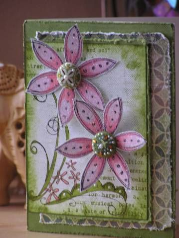 Stampin Up Doodle This-love the distressed edges of the layers and the pink and green color combo