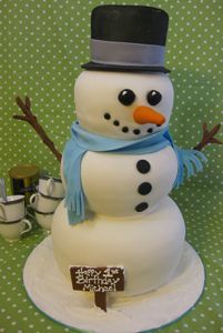Sculpted Snowman Cake by Amanda Oakleaf Cakes, via Flickr