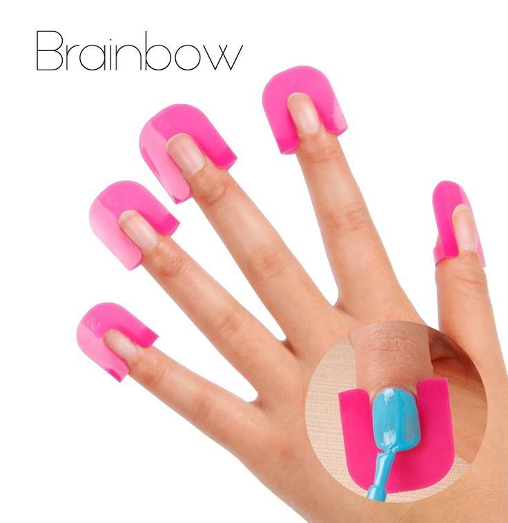 26 pz/set Creative Nail Polish Spill-Resistant Manicure Finger Nail Polish Copertura Stampi Scudo Speicial Del Chiodo Strumento di Arte Popolare
