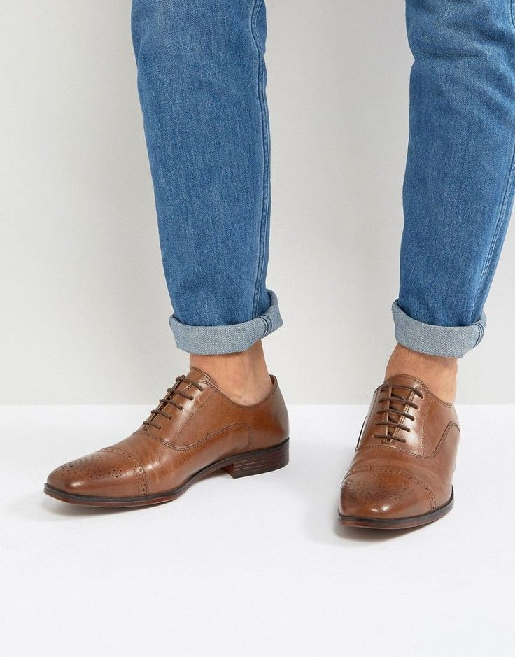 ASOS Brogue Shoes In Tan Leather With Toe Cap - Tan
