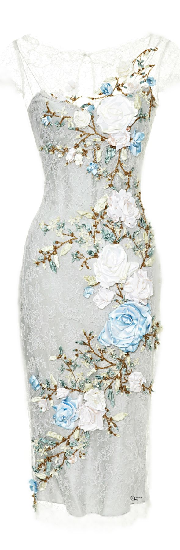 Marchesa ● Spring 2014, Chantilly Lace Cocktail Flower Dress