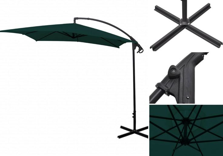 3M Cantilever Outdoor Umbrella Green Garden Patio Pool Hanging Parasol Decor