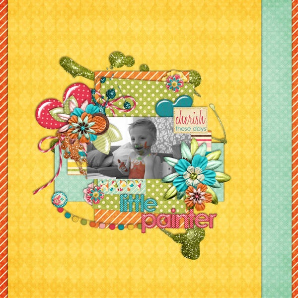 Happy Little Painter by boba80. I just love the multiple layered back ground papers and the central cluster to show off that adorable photo!!! The glittery splatters are the perfect touch for this page!!