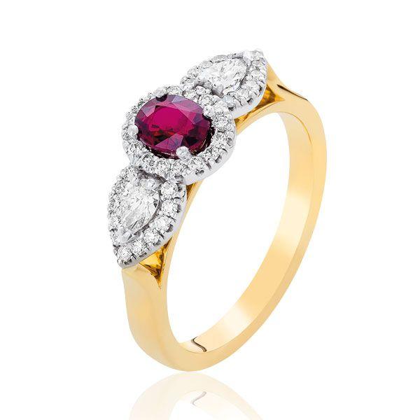 African ruby & diamond ring - Stones Diamonds