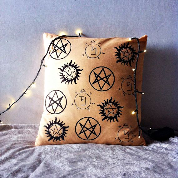 Supernatural themed pillow case #supernatural #spn #pillow #decor #fandom