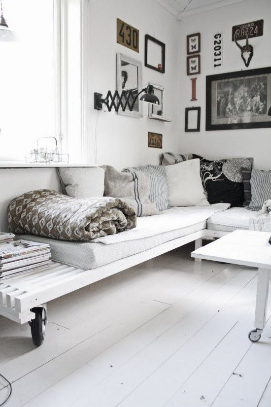 Black white grey and pallets.