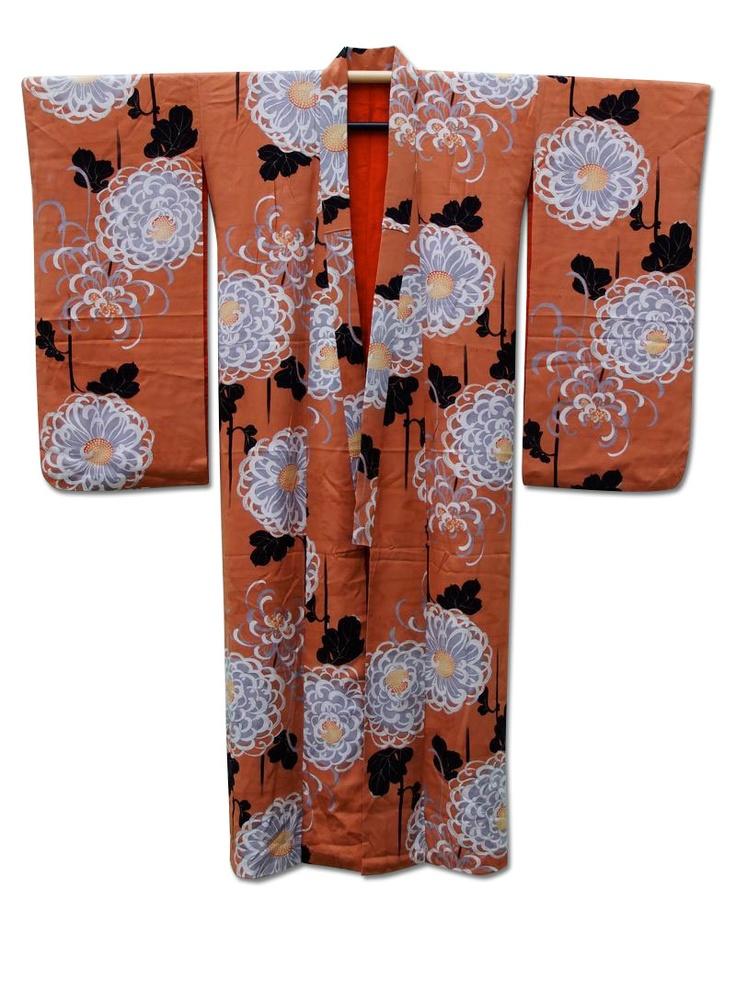 ☆'Life of Mars'☆ Rinzu (jacquard) silk kimono with dramatic chrysanthemum motif design