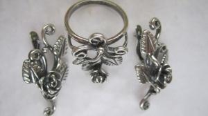 Серьги + кольцо 20950 Основа - мельхиор, серебрение