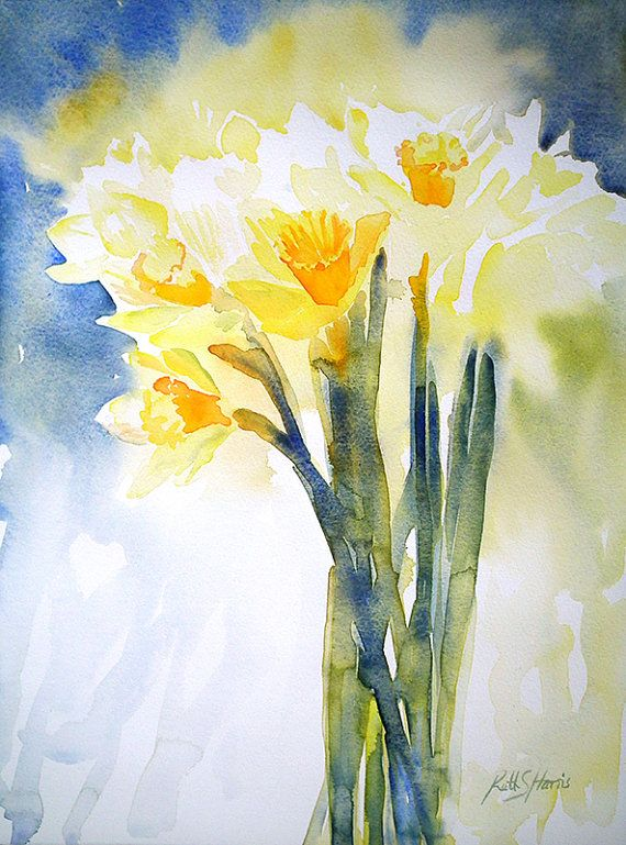 Original Watercolor Spring Daffodils Flower Painting via Etsy | Projects to Try | Pinterest | Daffodil flowers, Daffodils and Watercolor