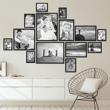 Picture Frame Set Modern Black MDF