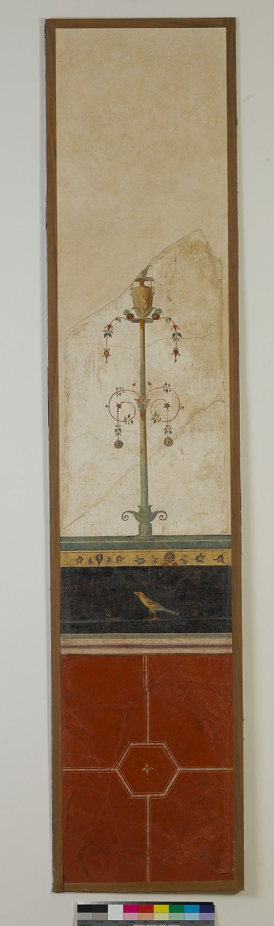 Roman wall painting on white ground: candelabrum, from the imperial villa at Boscotrecase Early Imperial last decade of the 1st century B.C.