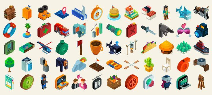 isometric icons set