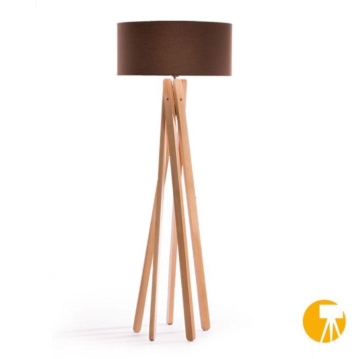 Design Stehlampe Tripod Leuchte Buche Holz H=160cm Stativ Stehleuchte Braun in Möbel & Wohnen, Beleuchtung, Lampen   eBay