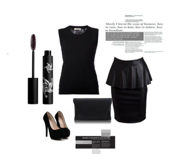 Черная кожанная юбка с баской, замшевые туфли на каблуках, черная блузка, клатч