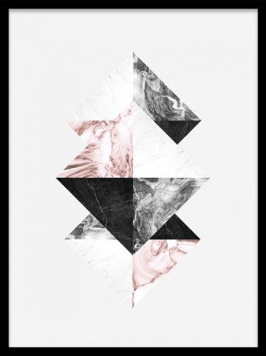 Stilren grafisk affisch i rosa, grått och vitt. Planscher och posters med grafiska illustrationer. Tavla i stil med Ferm living.