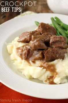 Easy Crockpot Beef Tips and Gravy - http://FamilyFreshMeals.com - My family loves this one!