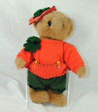 Tender Heart Treasures Jointed Teddy Bear Plush Stuffed Animal Pumpkin Outfit
