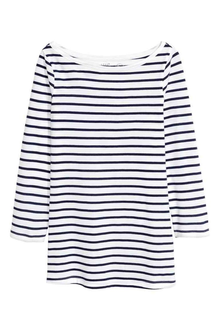 Tricot top - Donkerblauw/gestreept - DAMES | H&M NL
