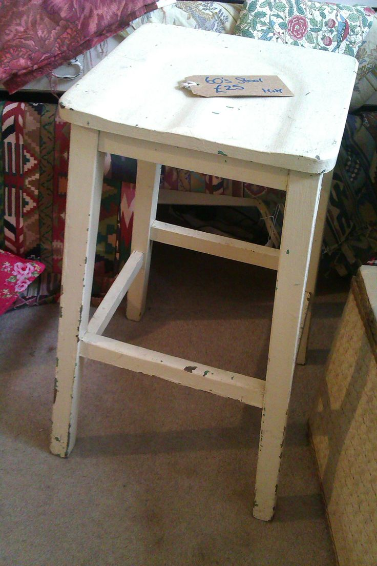 Off white sixties wooden stool £26