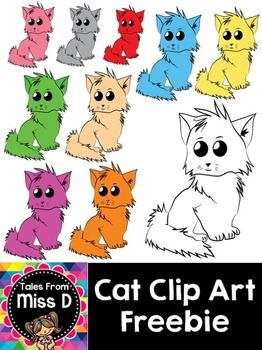 Cat Clip Art10 Cat Clipart images that can be used for creating your own resources or graphics! They come in 10 different colours.These images can be used for both personal and commercial use, with a link back to my TPT store.Each image comes as a .PNG at 300dpi resolution.