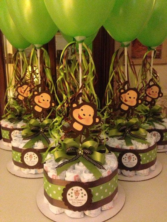 Monkey baby shower diapers centerpiece with balloon green for Baby shower safari decoration