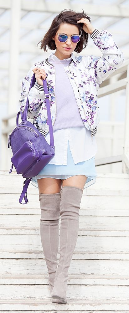 #StuartWeitzman #OverTheKneeBoots #Layering #streetStyle #pernelle #Backpack | blue Mini Skirt #FloralBomber #FloralBomberJacket