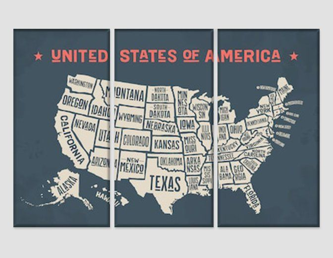 Vintage Map Of The Usa Canvas Art United States Map Print Map Wall Art Push Pin Usa Travel Map Wall Decor Large Map Poster Traveler Gift United States Map Usa Map