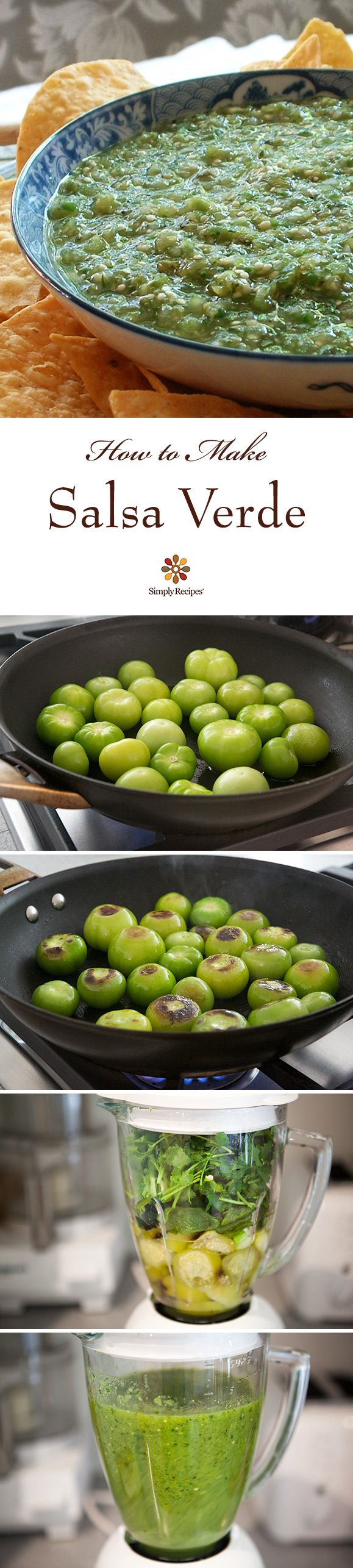3 easy ways to make tomatillo salsa verde! A delicious Mexican green salsa made with roasted tomatillos, chile peppers, lime juice, cilantro, and onion. Make for a summer holiday gathering! On SimplyRecipes.com