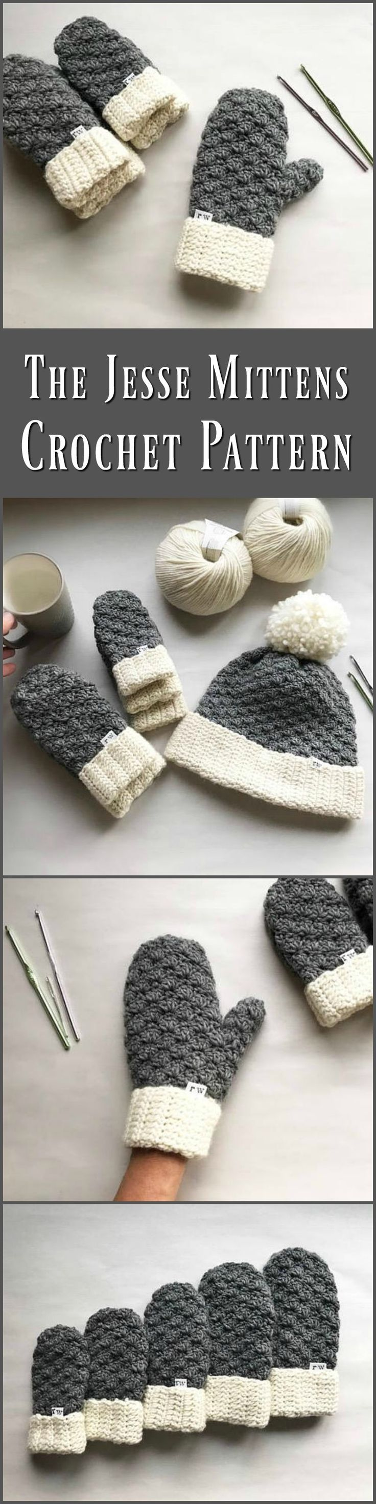 The Jesse Mittens, Crochet Mittens, Easy Pattern, Mitten Pattern, Crochet Mittens, Pattern, Crochet #download ochet #ad #crochetpattern  #download