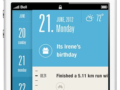 Calendar App Layout Design found on Dribbble.