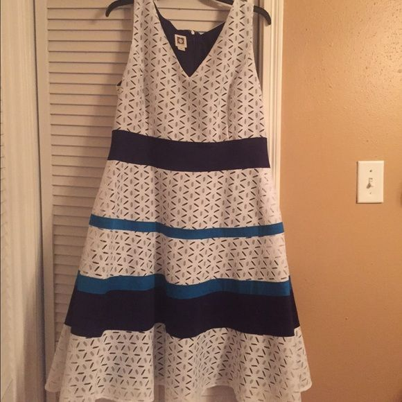 Multi color A-line dress Worn once. Perfect maternity dress though not listed as maternity. Very good condition Anne Klein Dresses Strapless