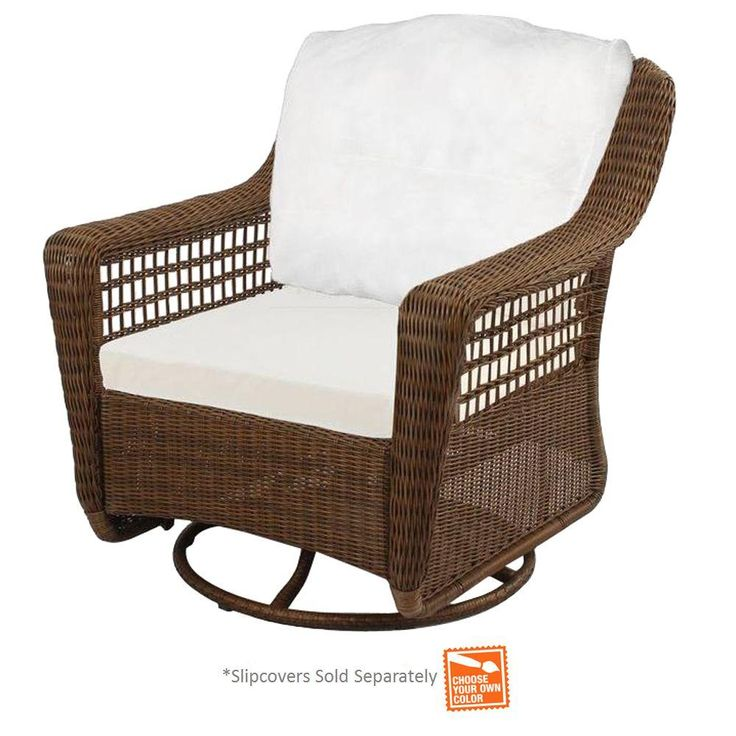 hampton bay spring haven brown wicker outdoor patio swivel rocker chair with cushion insert slipcovers sold separately