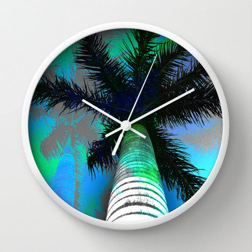 Turquoise tropical clock tropical tree clock by NewCreatioNZ