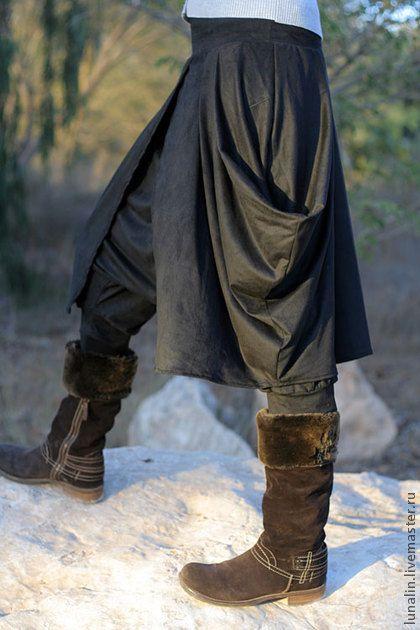 Брюки, шорты ручной работы. Ярмарка Мастеров - ручная работа Юбка-брюки для любительниц Бохо Черные. Handmade.