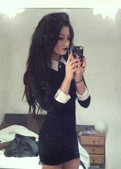 black hair and black lips this would be a super cute vampire halloween costume i dressed up like this to become wednesday addams for halloween - Halloween Costumes Wednesday Addams