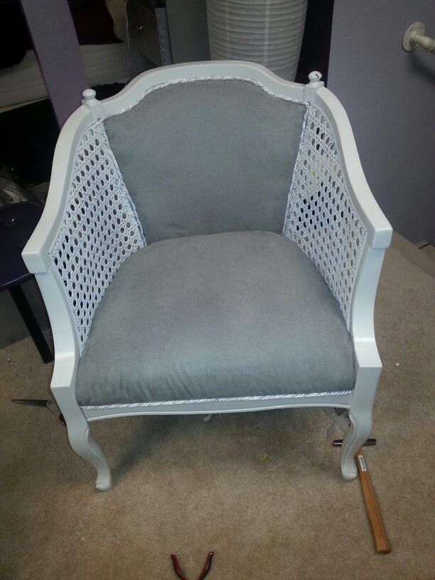 My first time painting recovering a chair. Now I love this chair I just wish I took a before picture to show how ugly and damaged it was.