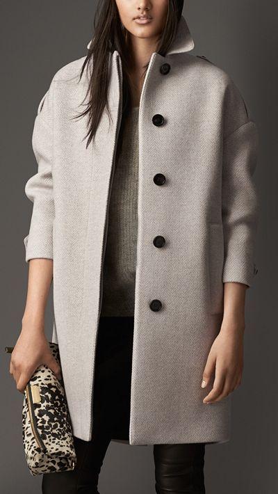 Oversize Virgin Wool Cashmere Herringbone Caban