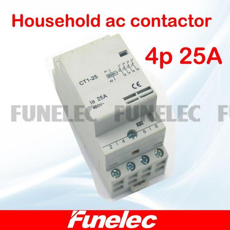 CT1 4P 25A 220V/230V 50/60HZ Din rail Household ac contactor 4NO