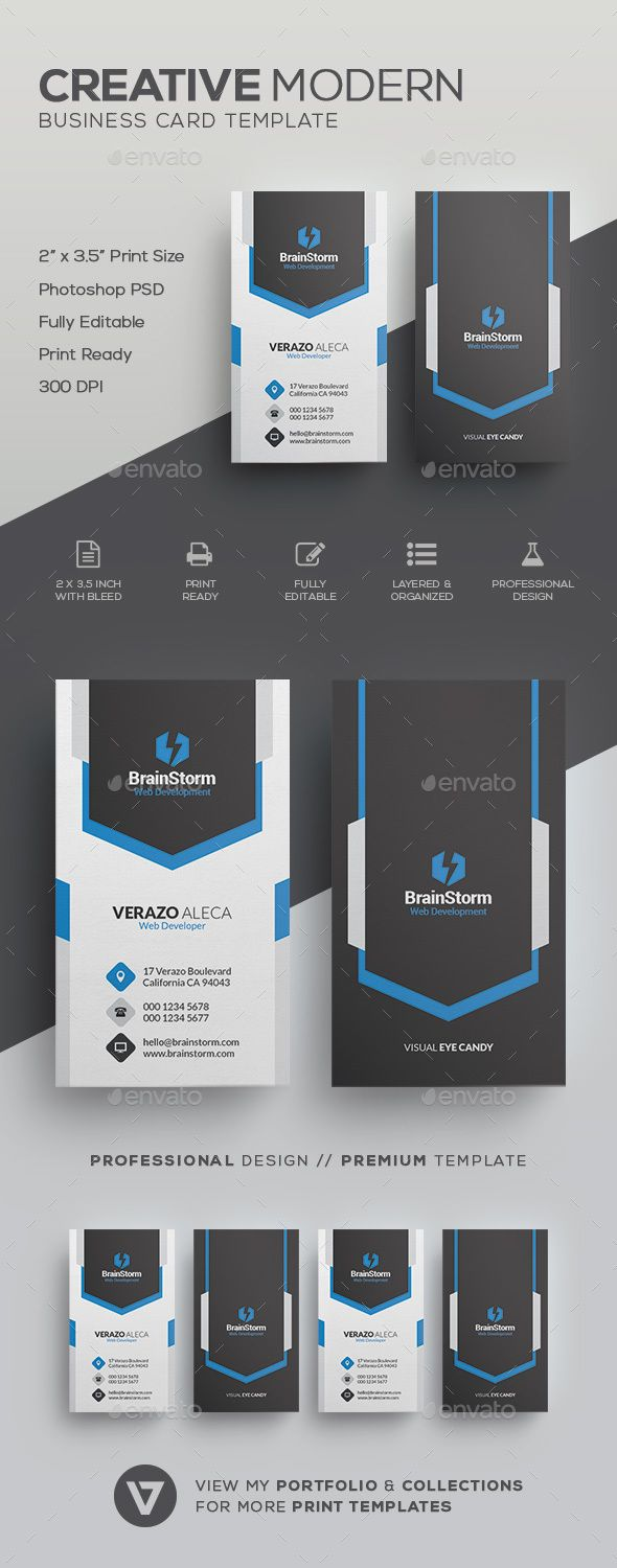 Vertical #Business #Card Template - Corporate Business Cards Download here: https://graphicriver.net/item/vertical-business-card-template/19919769?ref=alena994