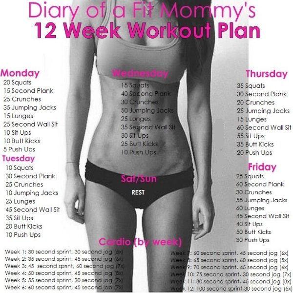 12-wöchiger Trainingsplan für zu Hause – fitness exercise motivation