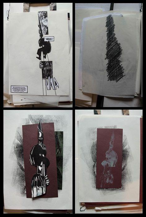 Deel 2 opdracht: strip 1: drie beelden zo schikken om tot een 'nieuw' interessant beeld te komen. 2: Uitpuren van de lijnvoering om een linosnede te ontwerpen. 3: Kalkpapier om de lijnen op je lino over te tekenen. 4: Afdrukken maken op verschillende soorten papier (textuur / kleur / vorm ...) en met verschillende soorten verf / inkt