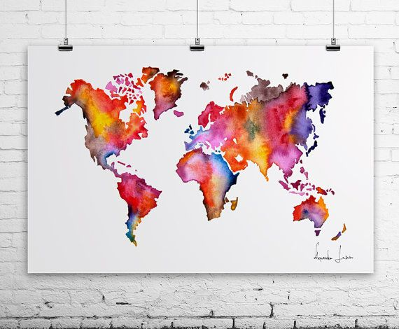 WATERCOLOR MAP  World Map Painting  POSTER by WatercolorPrint, $30.00