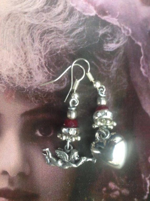 Cherub earrings Assemblage earrings Heart earrings Silver
