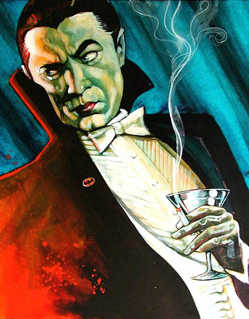 Vampire Dracula grimaces at a glaring red light to his right. He holds a lit cigarette and a martini glass. Title: Bat Love 2 Artist: Mike Bell Made-to-order giclee fine art reproductions on canvas fe