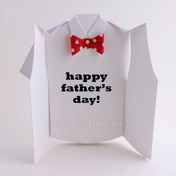 Carte bonne fête des pères 3D Bow & gilet en par PaperZenShop