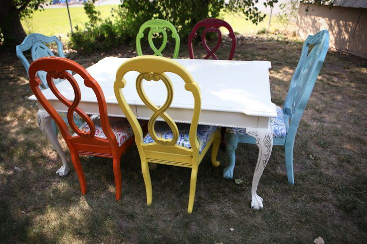 I love the idea of repainting an old cheap table and chairs to a more colorful union! Perfect way to add more color to the kitchen table