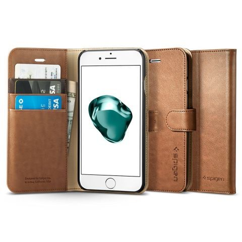 from $15 BUY NOW  The Spigen wallet case brings luxurious vibes to your iPhone 7 and iPhone 7 Plus on a budget. Made from synthetic leather, the case features three card slots and a pocket for cash. Black and brown are the two available colors.