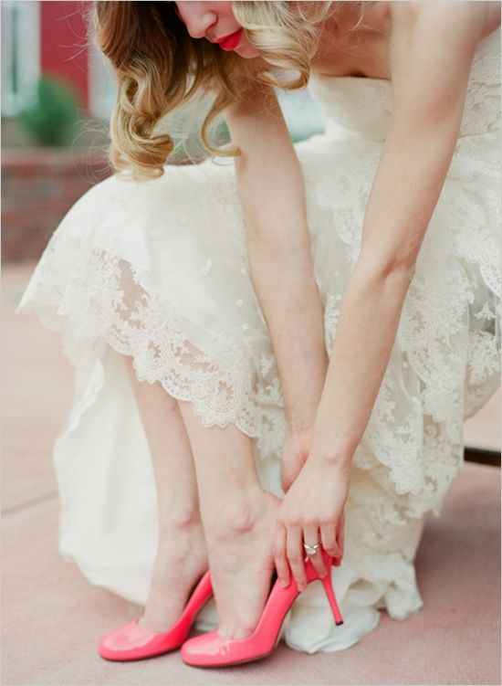 Pink wedding shoes...love the little pop of colour